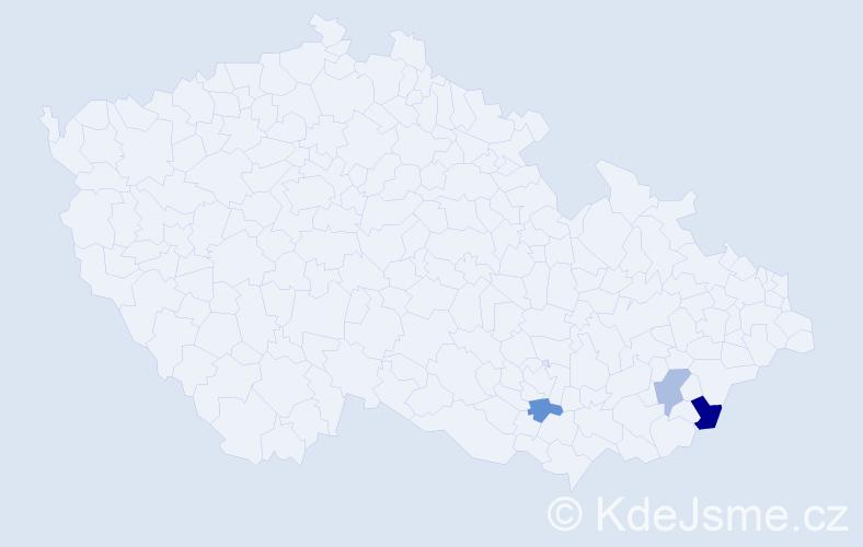 Příjmení: 'Bodná', počet výskytů 4 v celé ČR