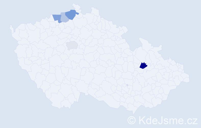 Příjmení: 'Balan', počet výskytů 9 v celé ČR