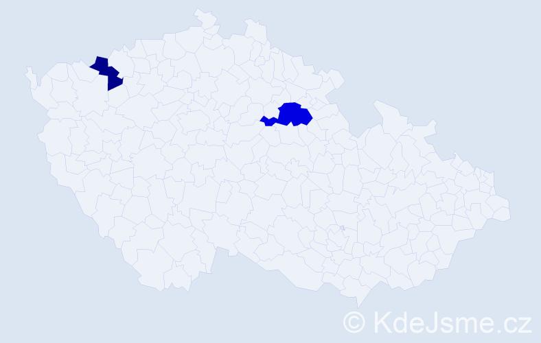 Příjmení: 'Ion', počet výskytů 3 v celé ČR
