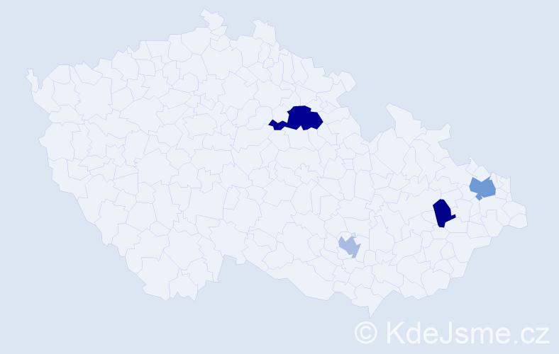 Příjmení: 'Čépeová', počet výskytů 7 v celé ČR