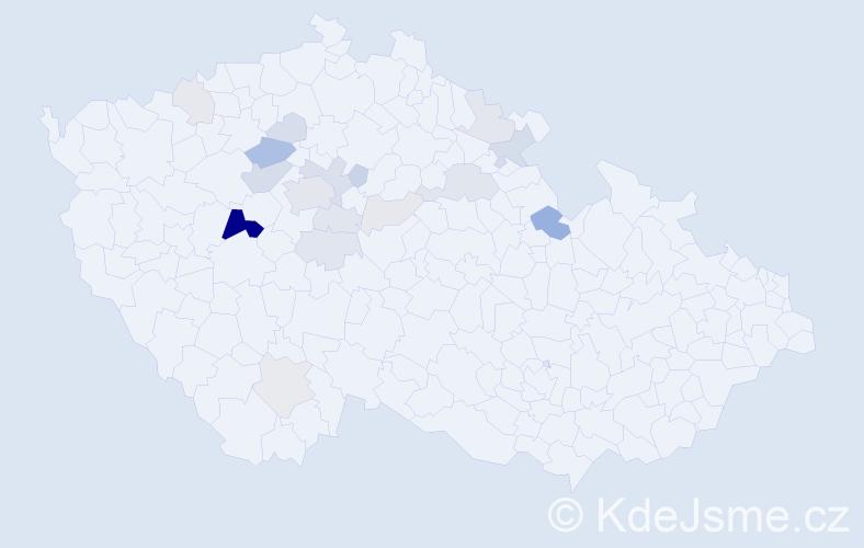 Příjmení: 'Jirouch', počet výskytů 50 v celé ČR