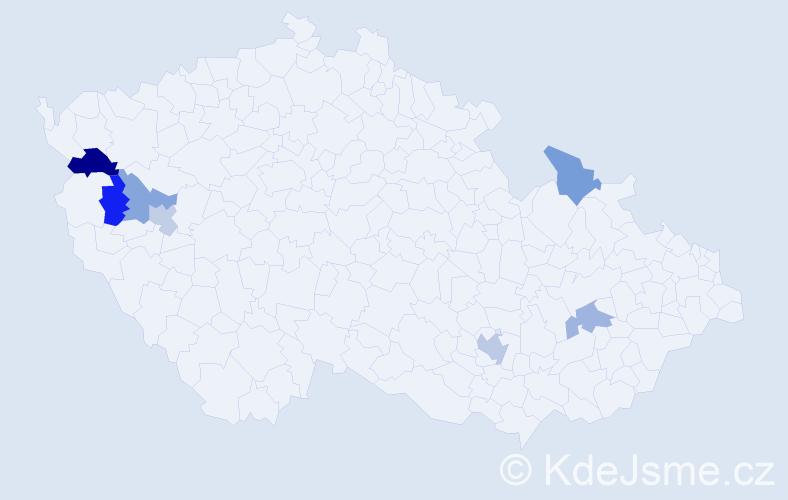Příjmení: 'Maďarič', počet výskytů 9 v celé ČR