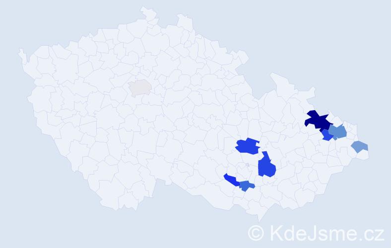 Příjmení: 'Barová', počet výskytů 19 v celé ČR