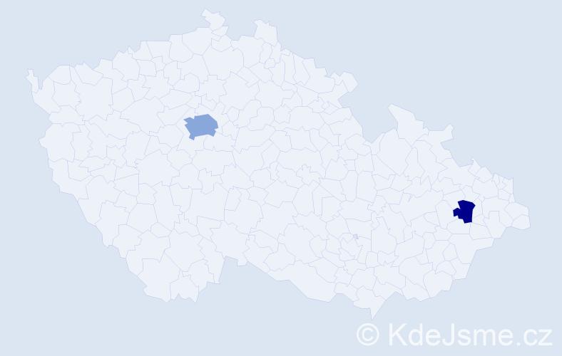 Příjmení: 'Betuš', počet výskytů 4 v celé ČR