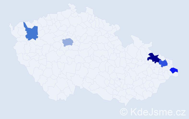 Příjmení: 'Laciaková', počet výskytů 10 v celé ČR