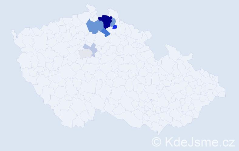 Příjmení: 'Hajleková', počet výskytů 22 v celé ČR