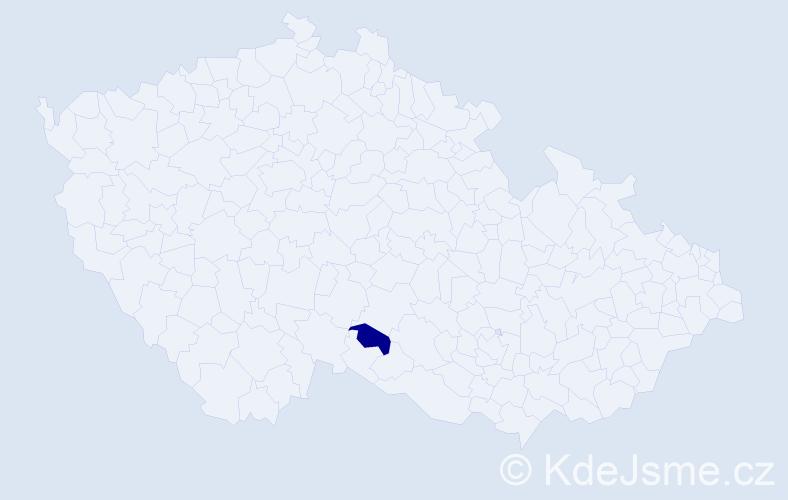 """Příjmení: '""""Bustová Pokorná""""', počet výskytů 1 v celé ČR"""
