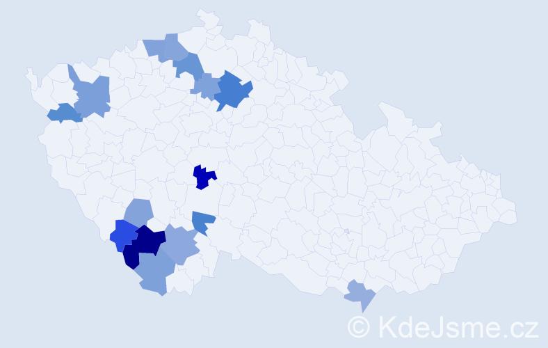 Příjmení: 'Kučavová', počet výskytů 25 v celé ČR