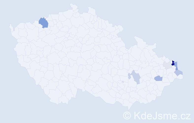 Příjmení: 'Kubanek', počet výskytů 17 v celé ČR