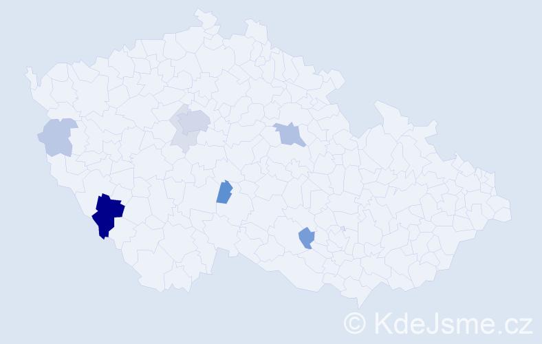 Příjmení: 'Kraucherová', počet výskytů 24 v celé ČR