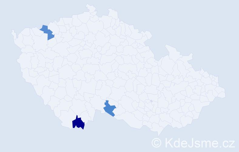 Příjmení: 'Griešová', počet výskytů 5 v celé ČR
