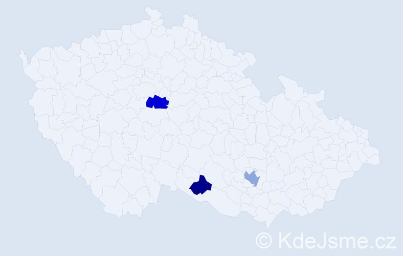 Příjmení: 'Clements', počet výskytů 5 v celé ČR