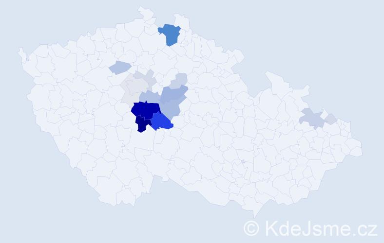 Příjmení: 'Kaprálková', počet výskytů 85 v celé ČR