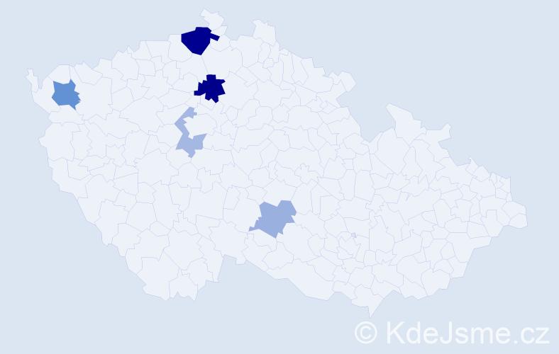 Příjmení: 'Kalfářová', počet výskytů 12 v celé ČR