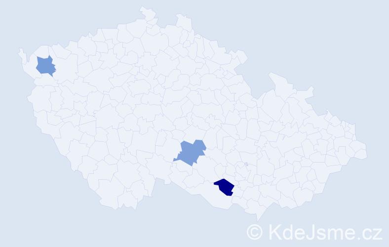 Příjmení: 'Badínová', počet výskytů 3 v celé ČR