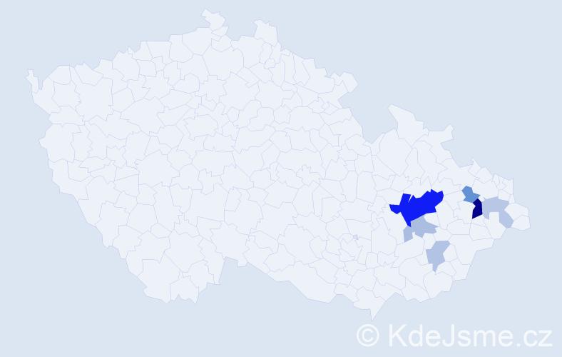 Příjmení: 'Darnadyová', počet výskytů 16 v celé ČR