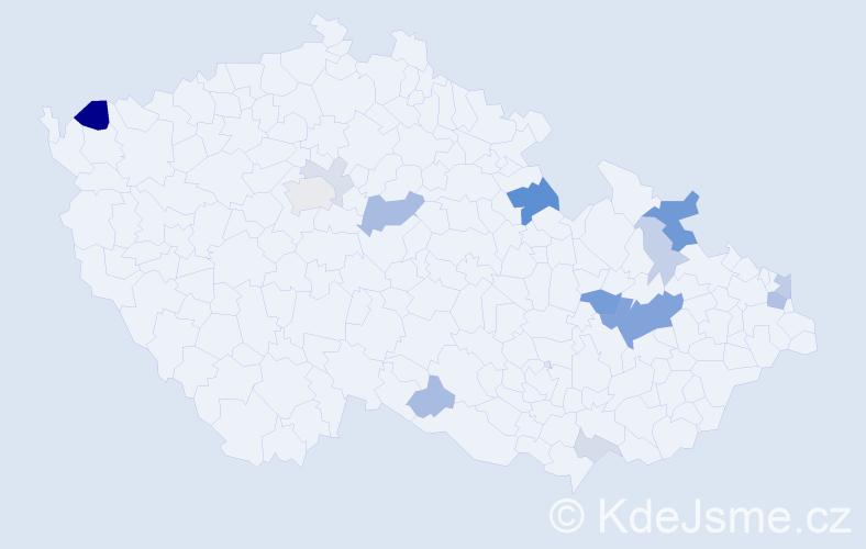 Příjmení: 'Lavrenčíková', počet výskytů 37 v celé ČR