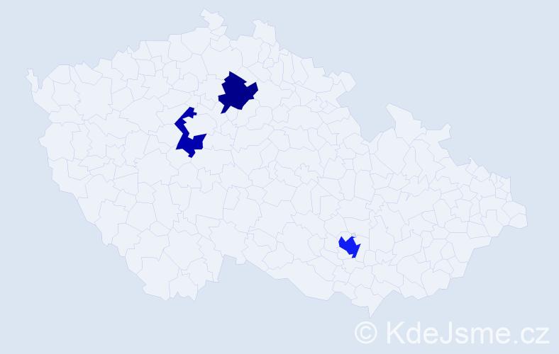 Příjmení: 'Kopecky', počet výskytů 4 v celé ČR