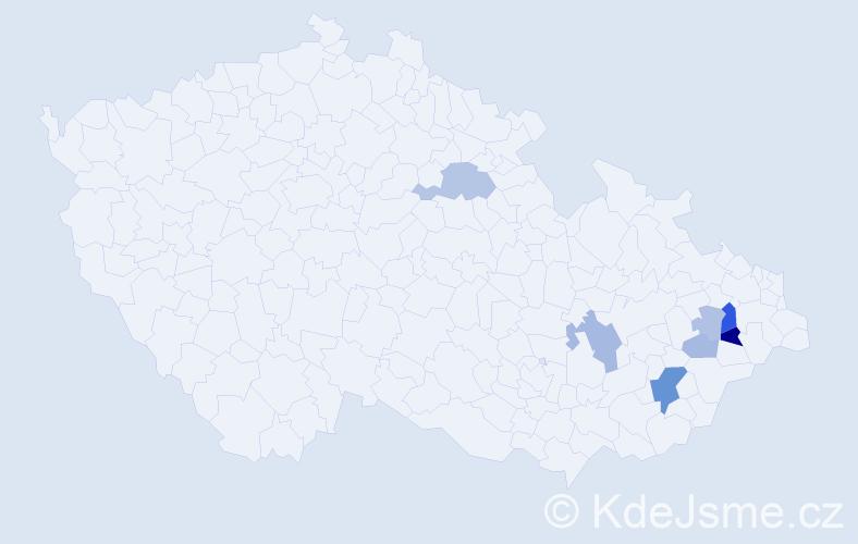 Příjmení: 'Eslerová', počet výskytů 18 v celé ČR