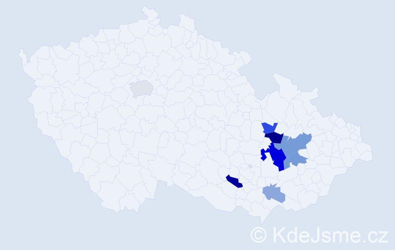 Příjmení: 'Hacar', počet výskytů 19 v celé ČR