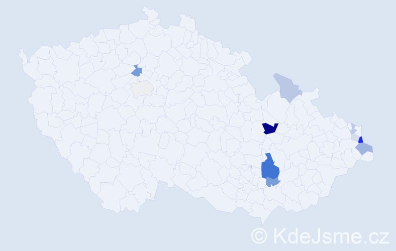 Příjmení: 'Hennerová', počet výskytů 23 v celé ČR