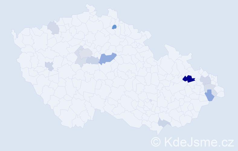 Příjmení: 'Čup', počet výskytů 24 v celé ČR