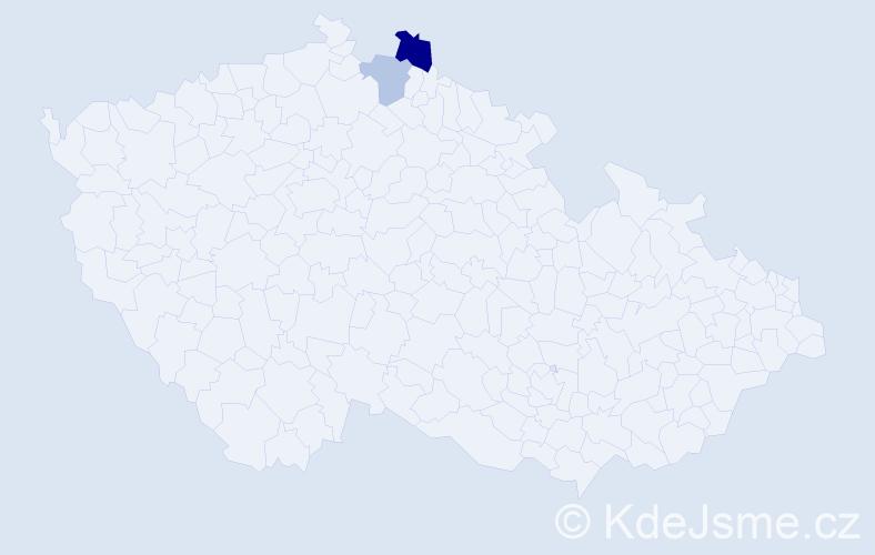 Příjmení: 'Frankel', počet výskytů 3 v celé ČR