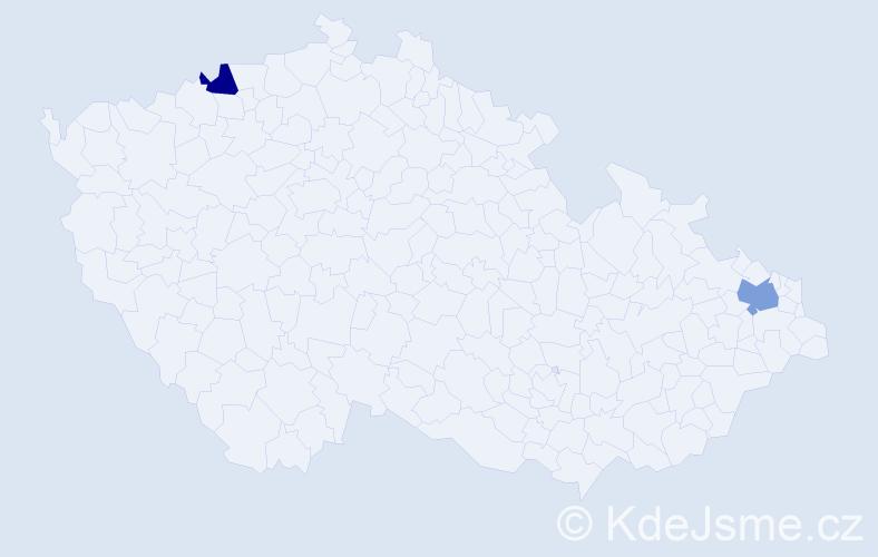 Příjmení: 'Kalaiová', počet výskytů 12 v celé ČR
