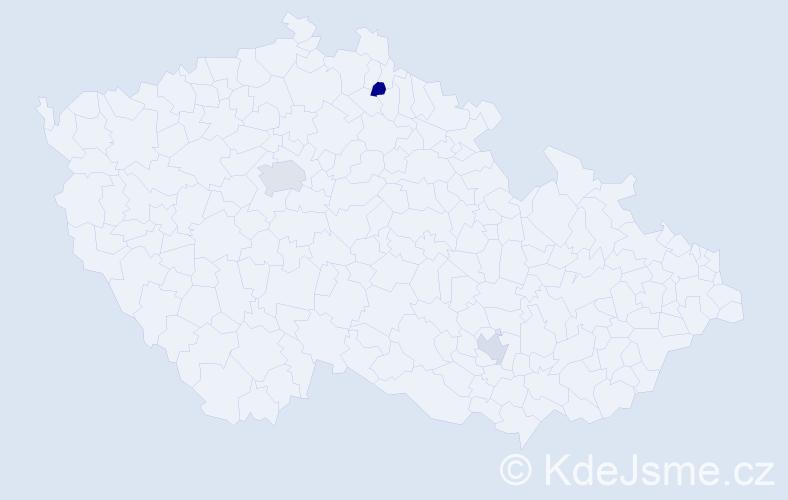 Příjmení: 'Igboanugo', počet výskytů 5 v celé ČR