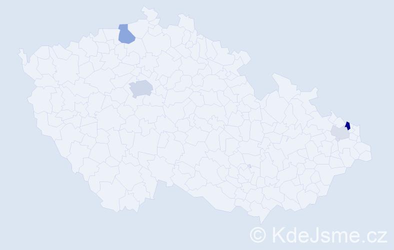Příjmení: 'Ezechelová', počet výskytů 11 v celé ČR