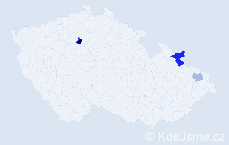 Příjmení: 'Jedlicsková', počet výskytů 3 v celé ČR
