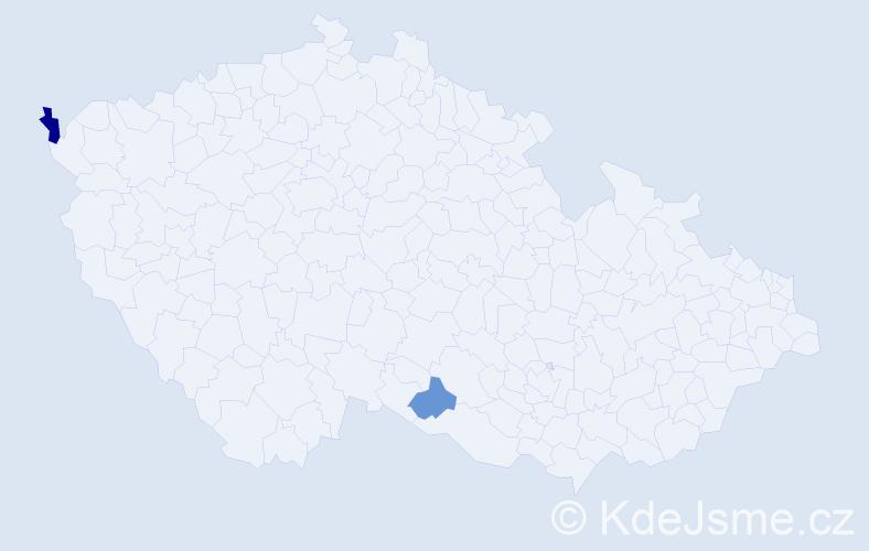 Příjmení: 'Laučíková', počet výskytů 6 v celé ČR