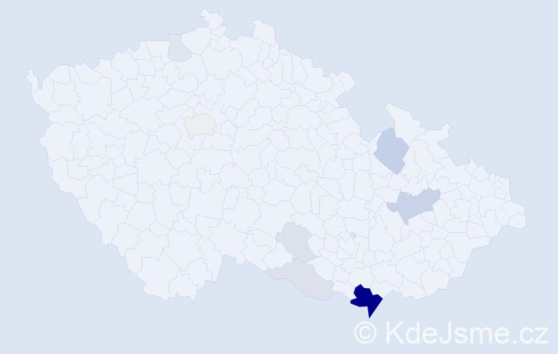Příjmení: 'Halady', počet výskytů 29 v celé ČR