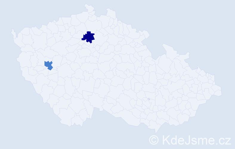 Příjmení: 'Andrée', počet výskytů 5 v celé ČR
