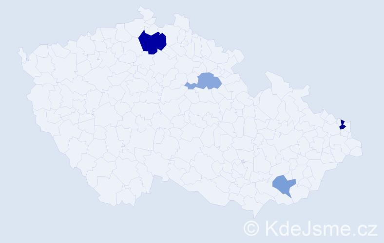 Příjmení: 'Kucharovicová', počet výskytů 7 v celé ČR