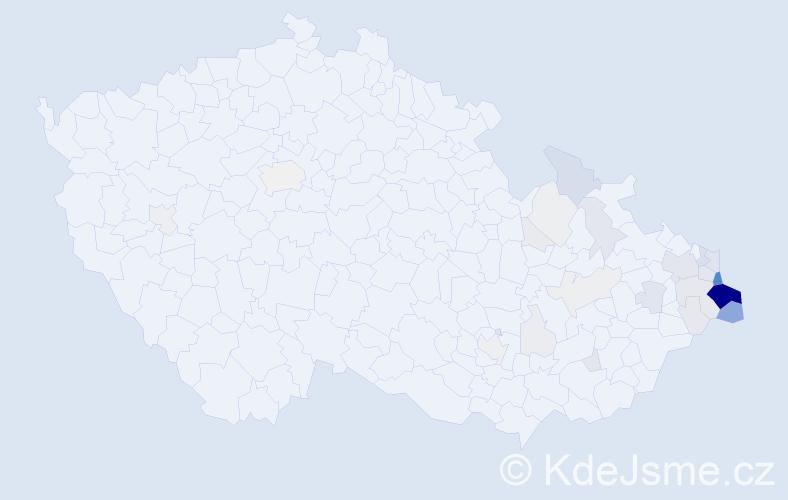 Příjmení: 'Lasota', počet výskytů 191 v celé ČR