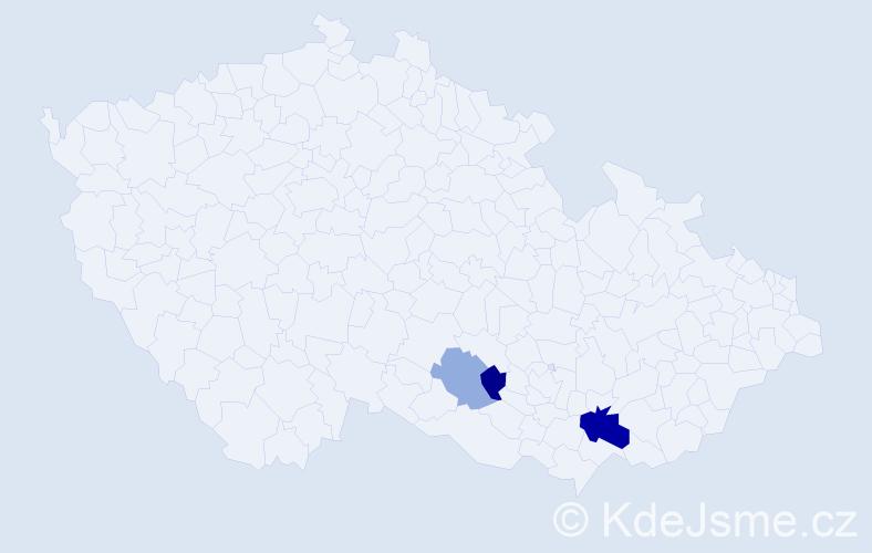 Příjmení: 'Bacúr', počet výskytů 6 v celé ČR