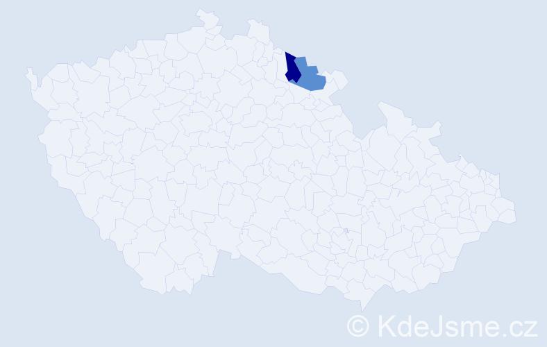 Příjmení: 'Jarebica', počet výskytů 2 v celé ČR