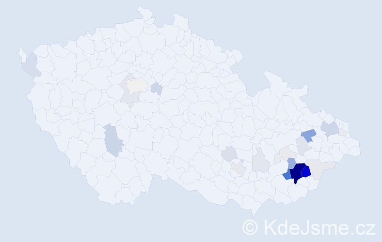 Příjmení: 'Kadlčák', počet výskytů 124 v celé ČR