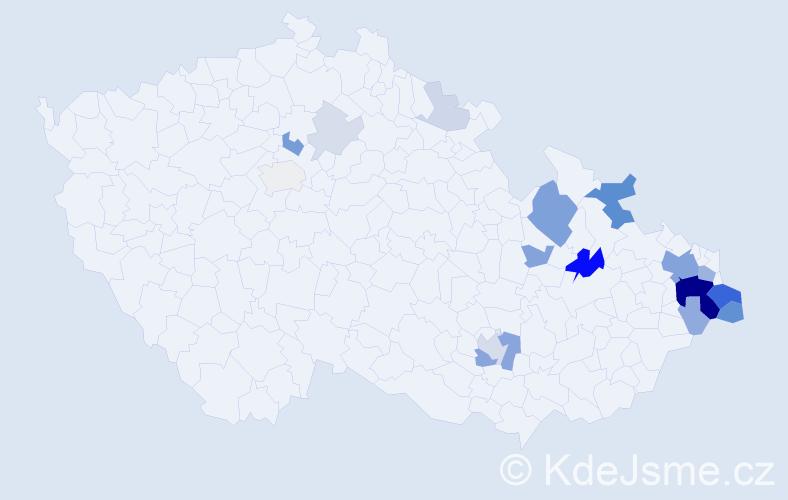 Příjmení: 'Golíková', počet výskytů 67 v celé ČR