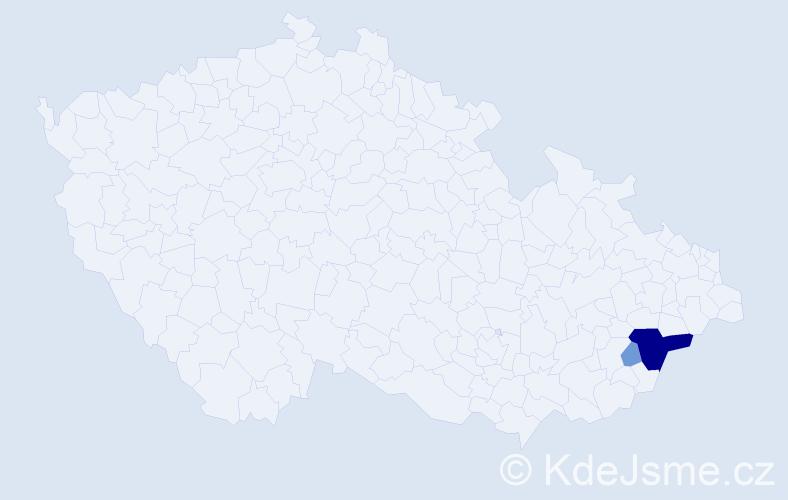 Příjmení: 'Čokavcová', počet výskytů 13 v celé ČR