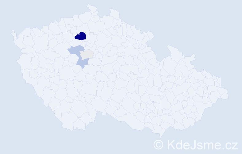 Příjmení: 'Jehl', počet výskytů 6 v celé ČR