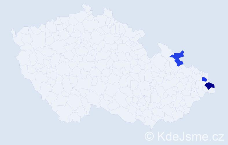 Příjmení: 'Uchoč', počet výskytů 5 v celé ČR