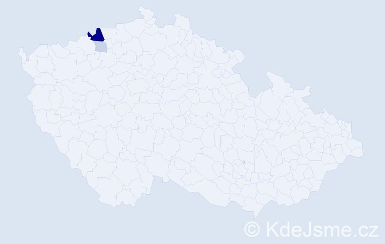 Příjmení: 'Haslbergerová', počet výskytů 8 v celé ČR