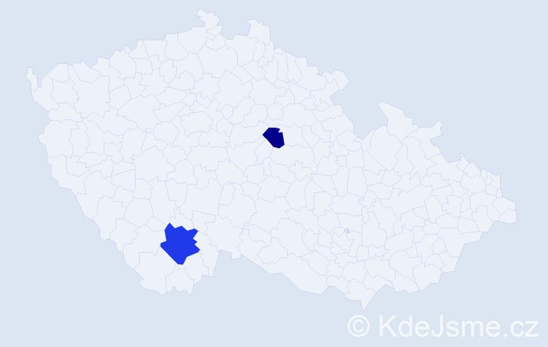 Příjmení: 'Hausel', počet výskytů 4 v celé ČR