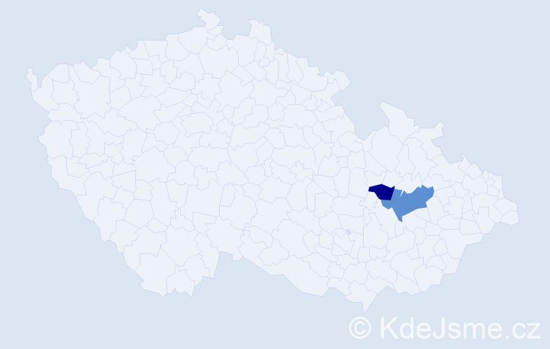 Příjmení: 'Fantulová', počet výskytů 6 v celé ČR