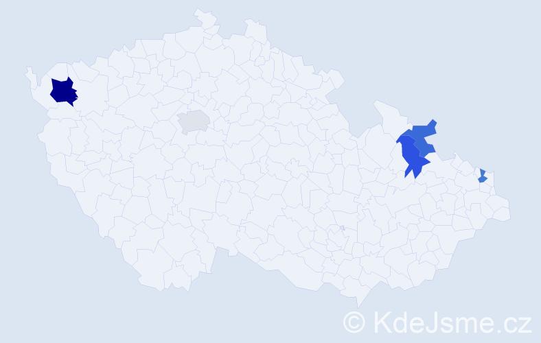Příjmení: 'Bryndáč', počet výskytů 7 v celé ČR
