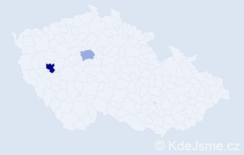 Příjmení: 'Carlssonová', počet výskytů 2 v celé ČR