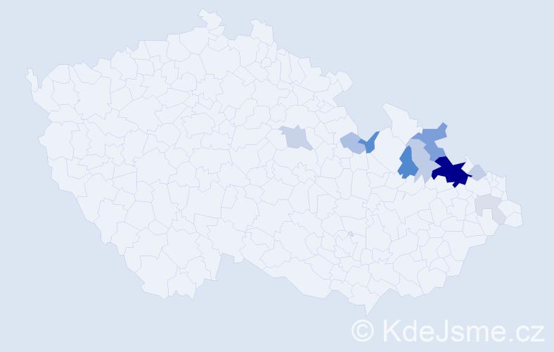 Příjmení: 'Ešíková', počet výskytů 33 v celé ČR