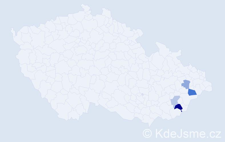 Příjmení: 'Bělůnek', počet výskytů 6 v celé ČR